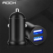 ROCK 5V 4,8 EIN Dual USB Auto Ladegerät für iPhone X 8 7 6 Samsung Xiaomi Schnell Lade Mini metall Auto-Ladegerät Auto-Lade 2 Port 24W