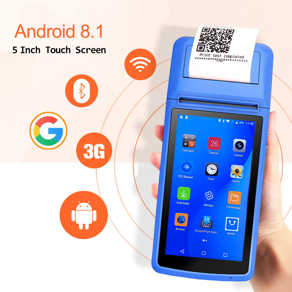 طابعة إيصالات حرارية محمولة ، مع PDA ، Android 8.1 ، بلوتوث ، الباركود ، 3G ، WiFi ، طلب الهاتف المحمول ، محطة Pos