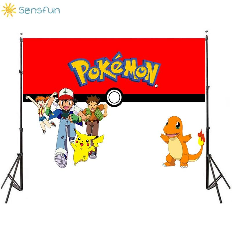 Sensfun Japón Anime dibujos animados Pokémon Little Fire Dragon fiesta telones de fondo cumpleaños fotografía para fiesta telón de fondo niños vinilo Banner