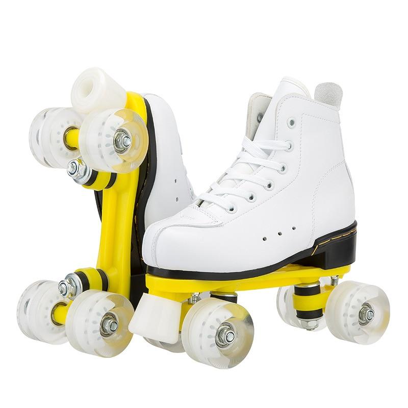 Роликовые коньки, двойные коньки, для женщин и мужчин, двухсторонние коньки, обувь для взрослых, патины с белыми искусственными 4 колесами, ...