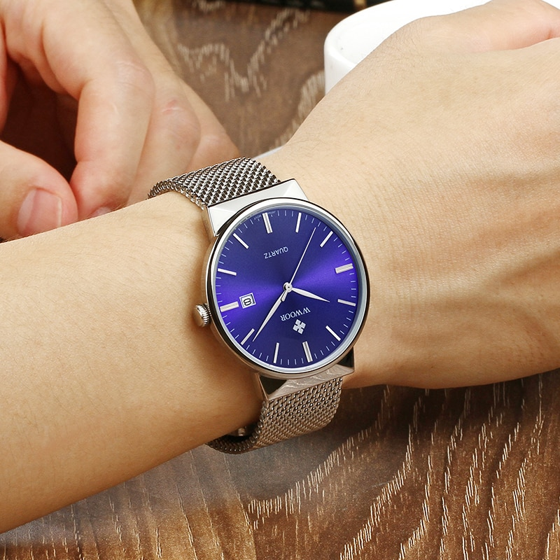 WWOOR Blue Watch For Men Ultra Steel Mesh Waterproof Quartz Mens Watches Casual Business Calendar Wrist Watch Male montre homme