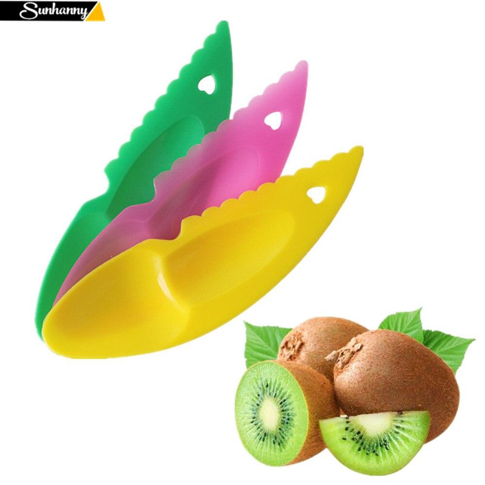 Sunhanny, cortador de frutas y vegetales, kiwi, medio + excavadora, cuchara, Frutas de plástico, cuchillo, rebanador, cuchillo, utensilio de corte de cocina