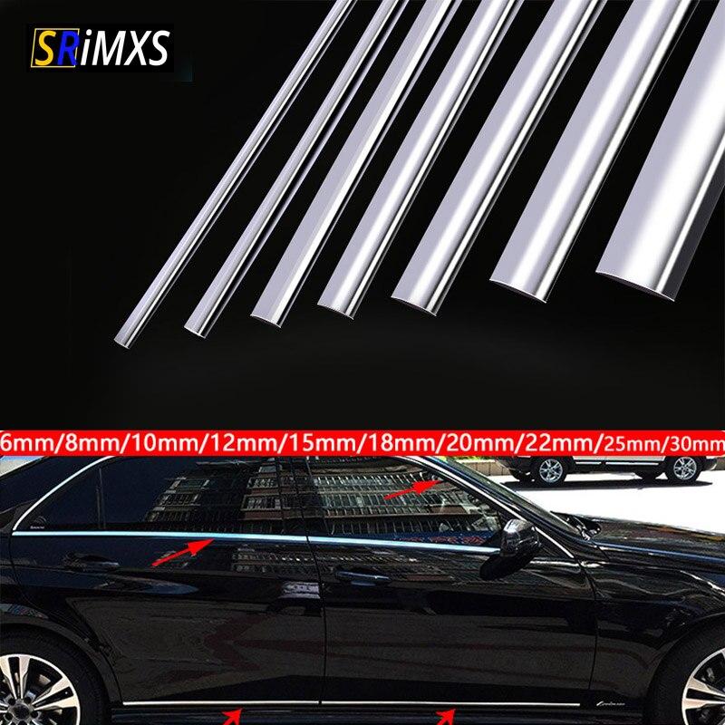 5M 13M Auto Chrom Styling Dekoration Moulding Trim Streifen Band Auto DIY Schutzhülle Aufkleber 6mm 8mm 10mm 12mm 15mm 20mm 30mm