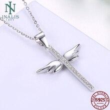 Inalis 925 prata esterlina colar incrustado zircon asas de anjo cruz colar para feminino menina jóias presente casamento