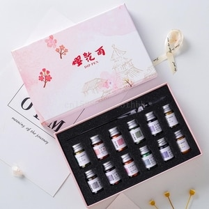 13Pcs/Set Cherry Blossom Rain Bottled Dip Glass Pen Ink With Fountain Dip Writing Signature Pen Art Supplies Gifts