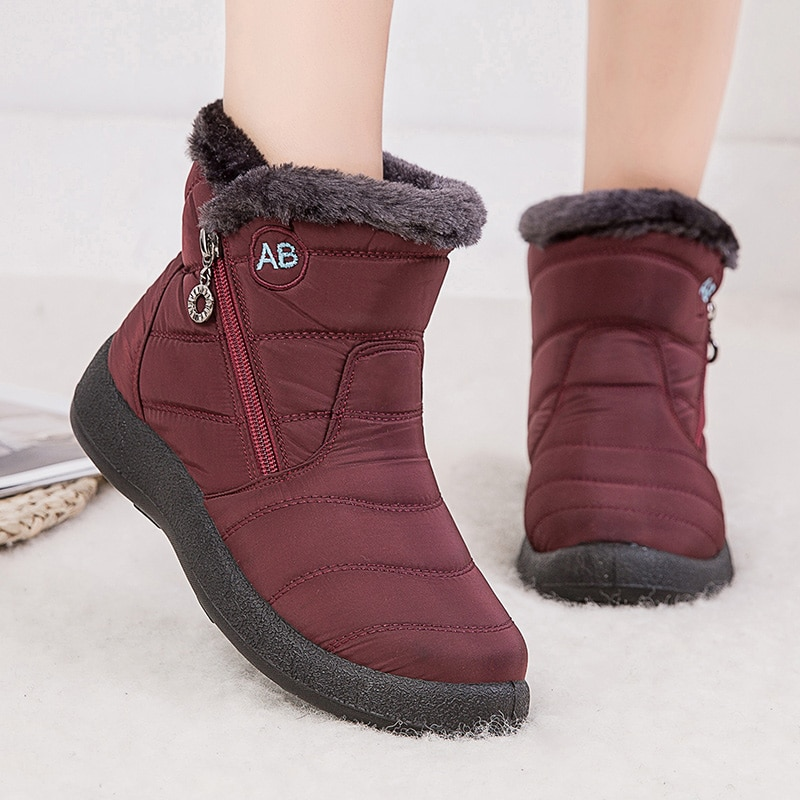 Women Boots 2020 Fashion Waterproof Snow For Winter Shoes Casual Lightweight Ankle Botas Mujer Warm
