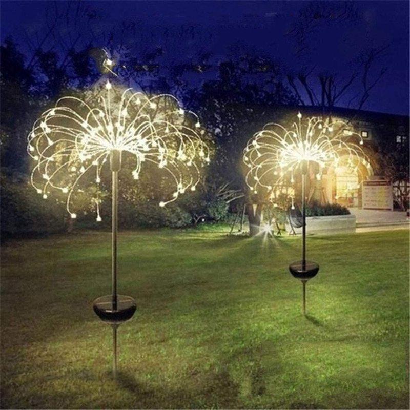 Solar Powered Outdoor Grass Globe Dandelion Fireworks Lamp Flash String 90 /120/150 LED For Garden Lawn Landscape Holiday Light