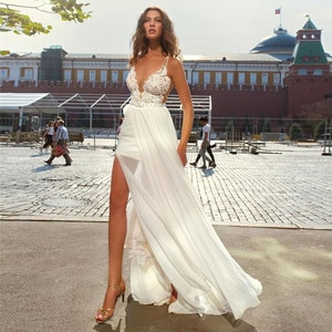 Sexy Spaghetti Strips A-Line Lace Chiffon Long Wedding Dresses Spring Split Side Bridal Gowns Long Spring Backless Bride Wedding