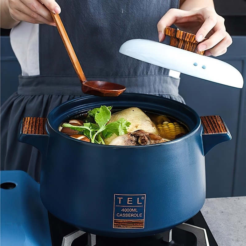 Ceramic Casserole Soup Pot Stew Cooker Blue High Temperature Resistant Open Fire Saucepan Home Cooking Supplies Kitchen Cookware