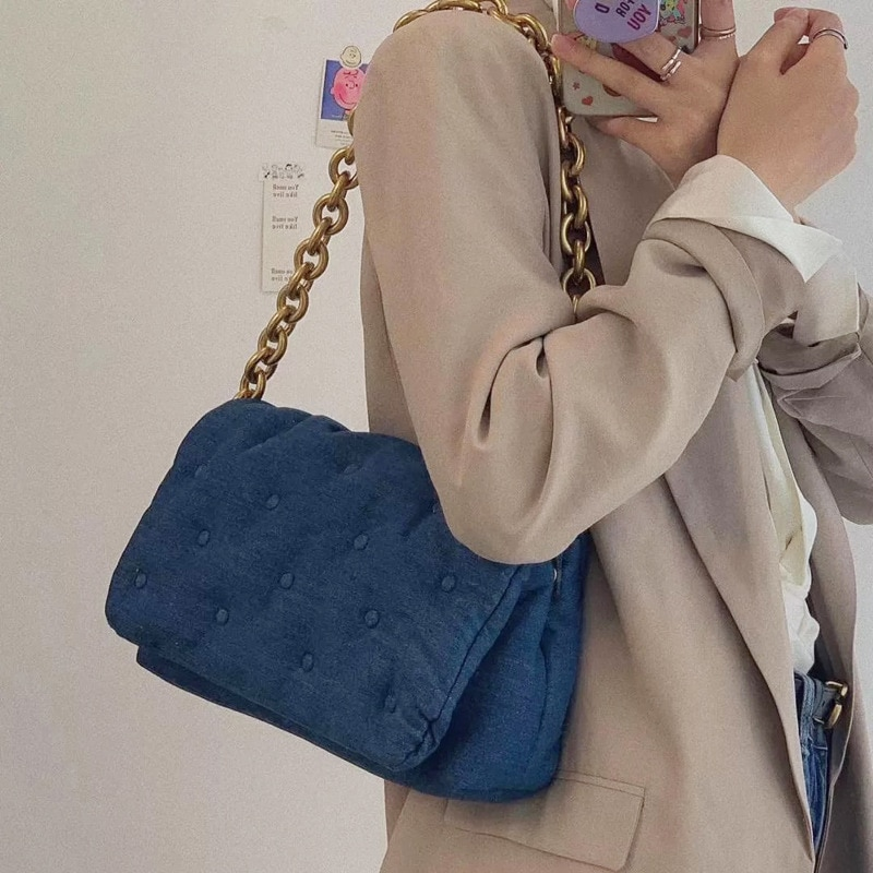 Women's Shoulder Bags 2020 Denim Quailty Thick Metal Chain Shoulder Purses And Handbag Women Clutch Bags Ladies Armpit Bag