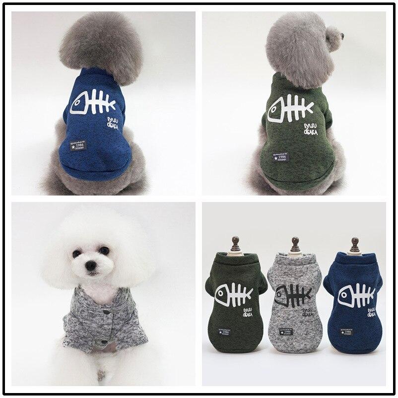 Suéter de perro mascota cálido chaqueta de diseño bonito de espina de pescado bulldog francés ropa mascota perro gato otoño e invierno abrigo S-XXL