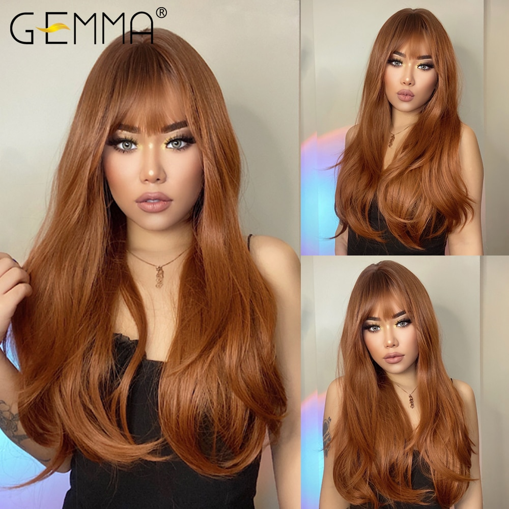 GEMMA Red Brown Copper Ginger Long Straight Synthetic Wigs for Women Natural Wave Wigs with Bangs Heat Resistant Cosplay Hair