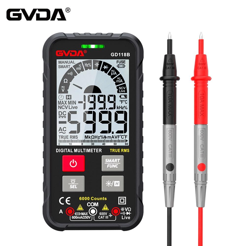 GVDA NEW Generation 600V Digital Multimeter Ture RMS AC DC NCV Smart Multimetro Tester Ohm Capacitance Hz Voltage Meter