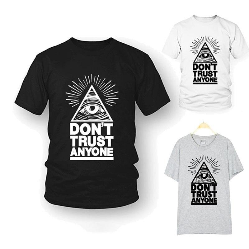 Illuminati T Shirt Fashion Brand Dont Trust Anyone Graphic Tee Letter Print Men T shirt Casual Funny Shirt  LW illuminati t shirt fashion brand dont trust anyone graphic tee letter print men t shirt casual funny shirt lw