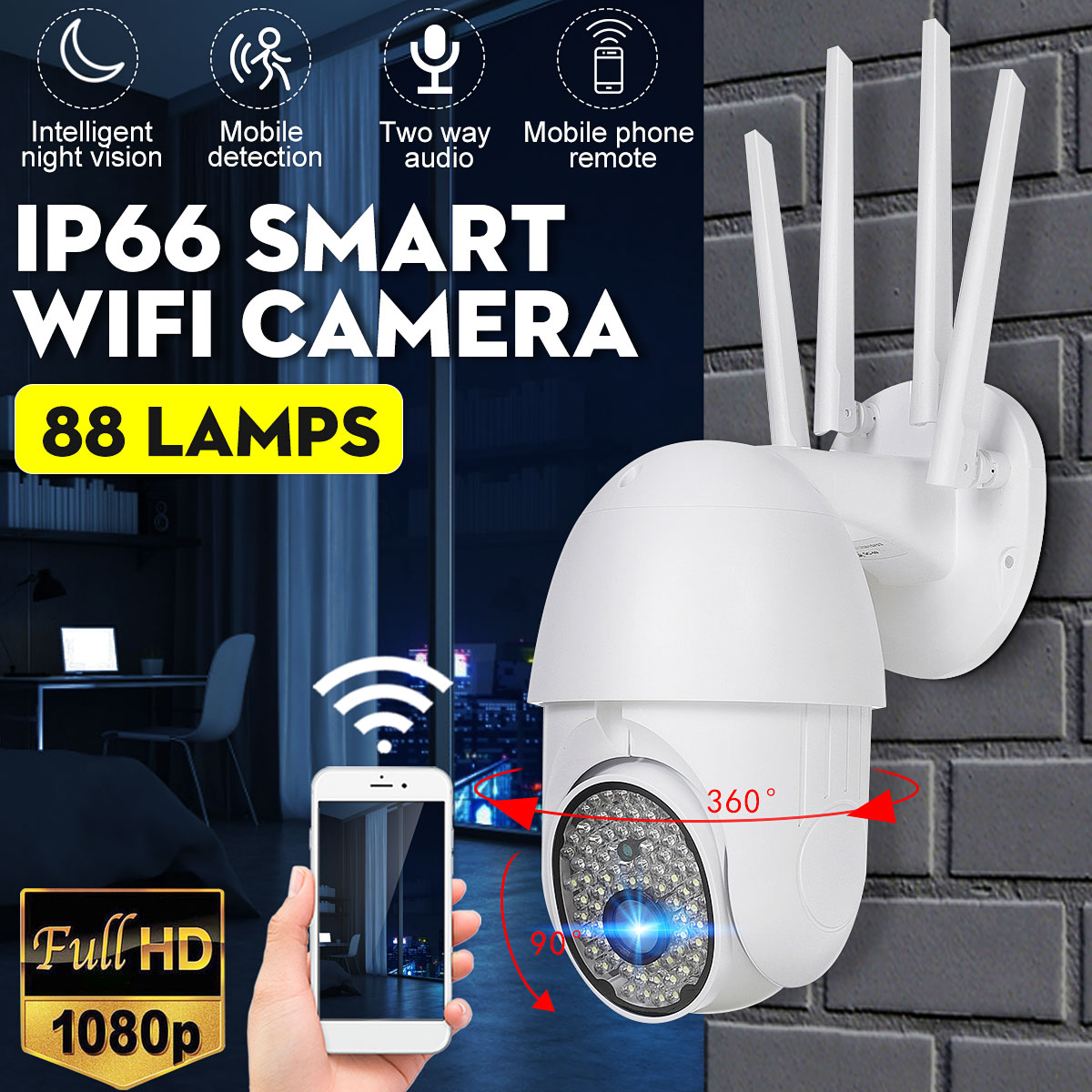 1080P PTZ WIFI IP Camera V30 Outdoor 5X Digital 360 degrees Zoom Night Full Color Wireless Security Camera Two Way Speak Audio