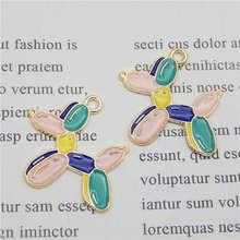 Julie Wang 4 pièces émail ballon chien breloques alliage coloré chien ton or collier Bracelet boucle doreille accessoire de fabrication de bijoux