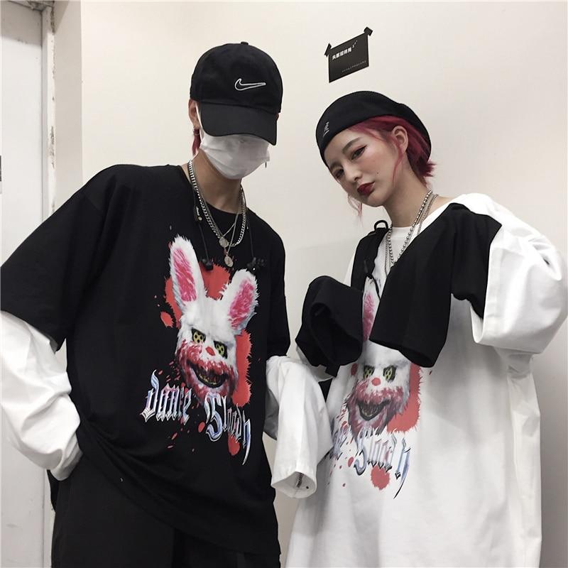 Camiseta NiceMix con estampado de animales Harajuku para mujer, 2 piezas falsas, camiseta de manga larga de cómics de terror Fujiang japonés, prenda femenina