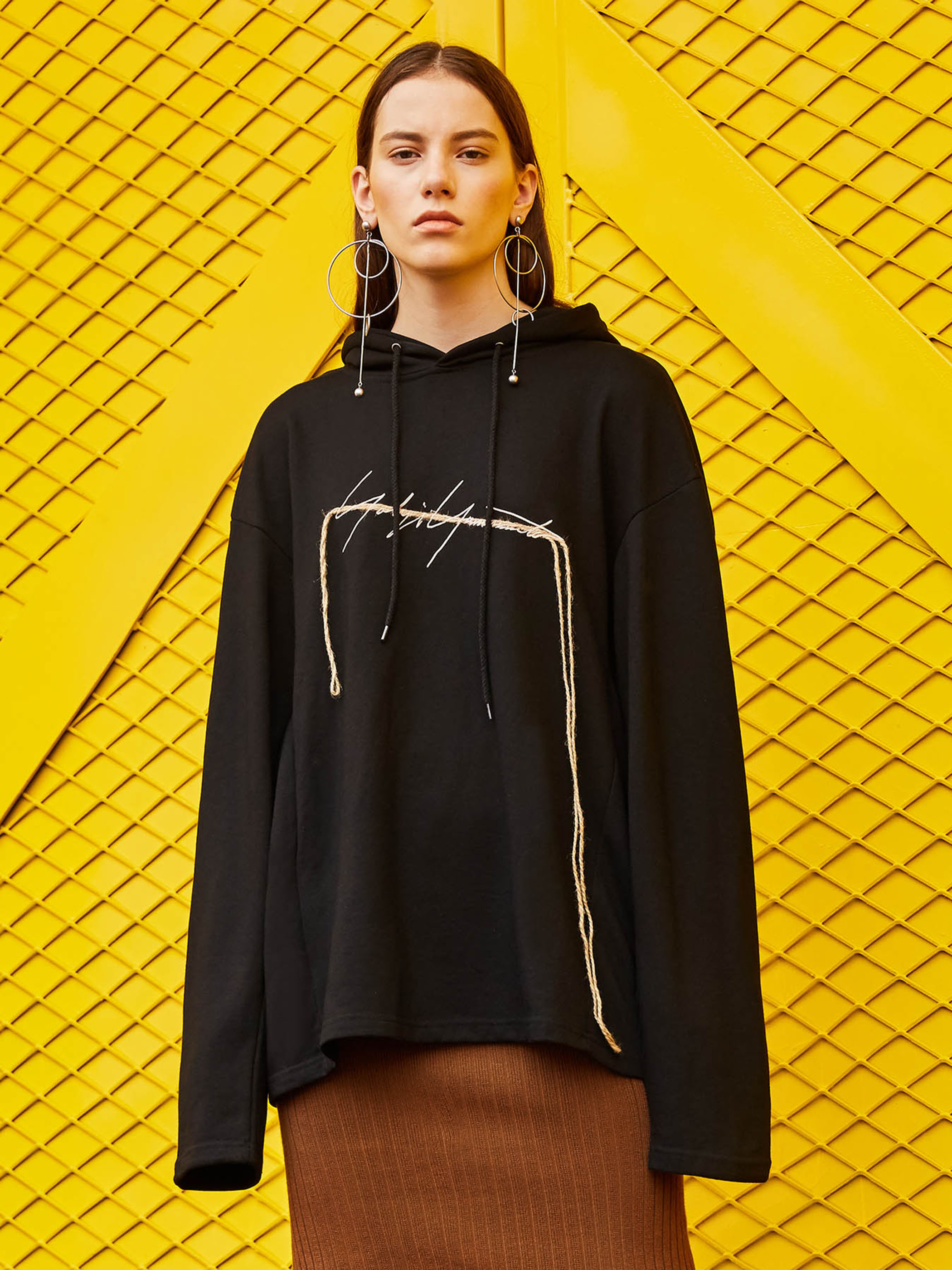 Women's Hoodie 2021 Autumn Drawstring Letter Embroidered Pullover Loose Mid-length Sweatshirt Fashio
