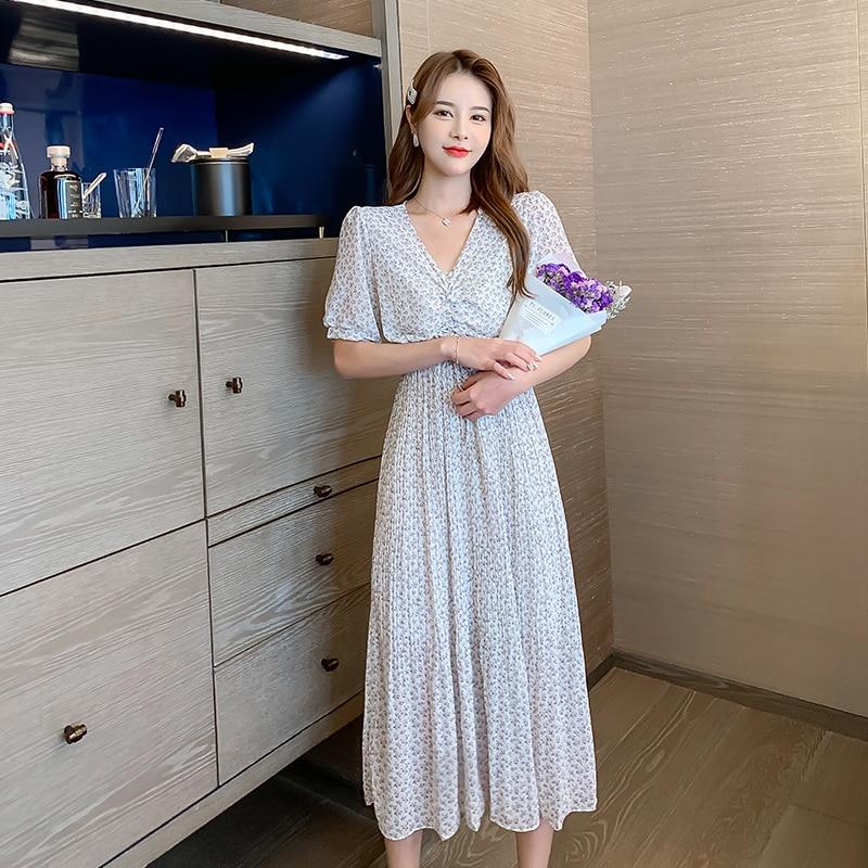 Women Long Floral Chiffon Dress Summer 2020 Runway Elegant Korean Vintage Pleated Party Boho Ruched Beach Vacation