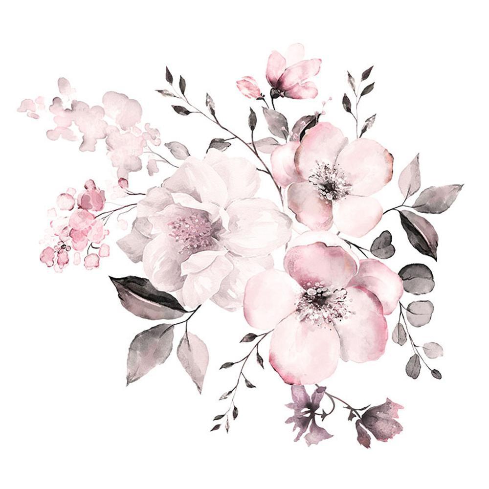 Pegatinas protectoras de pared Color agua Rosa Flores para dormitorio Mural para sala de estar decoración del hogar clúster pegatinas papel tapiz