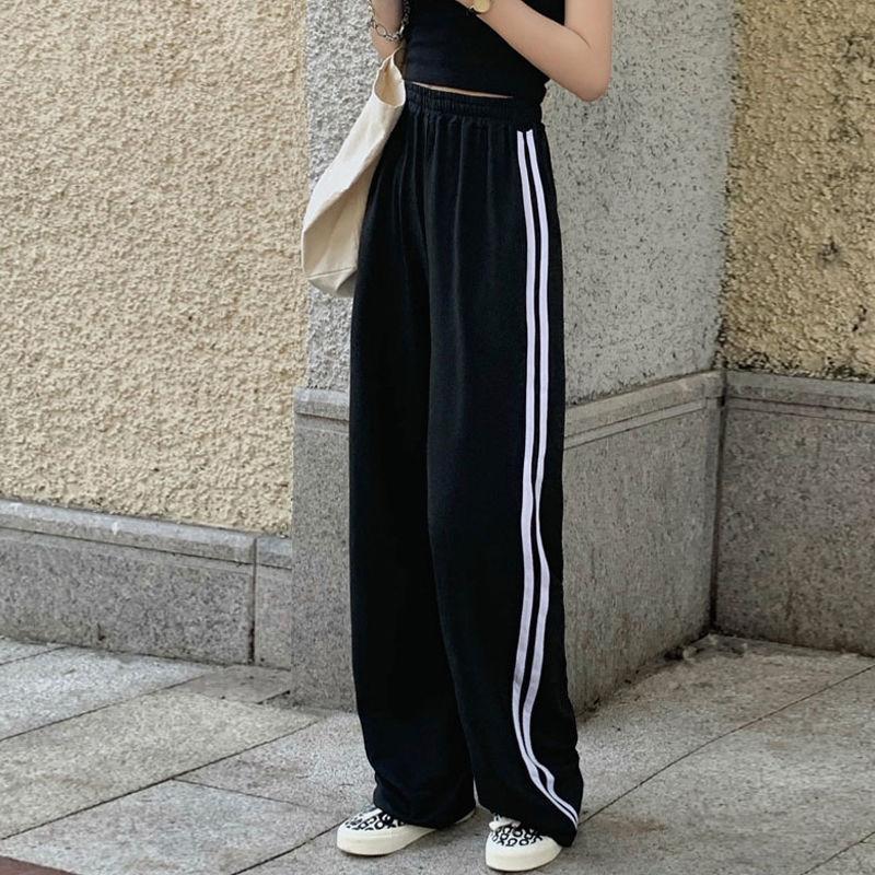 Брюки спортивные MINGLIUSILI женские с высокой талией, модные повседневные универсальные джоггеры с принтом в Корейском стиле, черные, весна 2021
