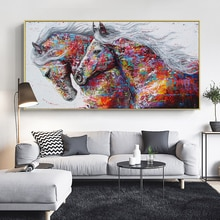 SELFLESSLY Animal Art Twee Running Paarden Canvas Schilderij Wall Art Pictures Voor Woonkamer Moderne Abstracte Kunst Prints Posters