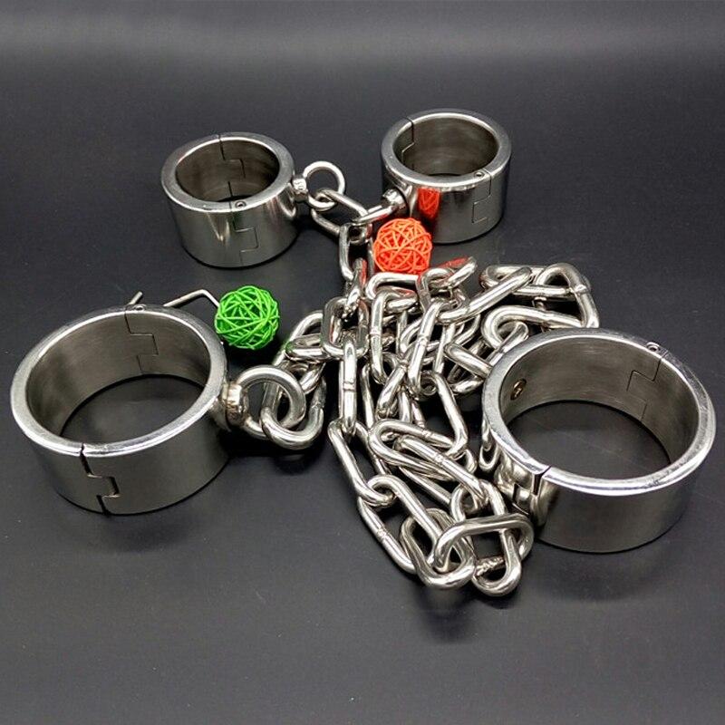 Calentadores de pierna de acero inoxidable puños de tobillo de mano juegos de adultos correas de esclavo Bdsm Torture juguetes sexuales para parejas herramientas de Bondage de Metal