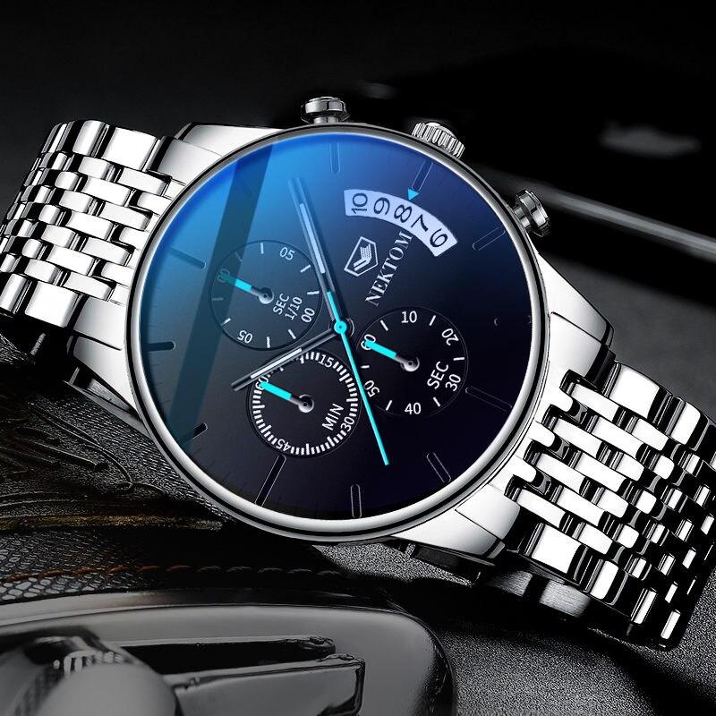NEKTOM Casual Chronograph Multifunction Mens Watches Top Brand Luxury Waterproof Luminous Quartz Clock Men Relogio Masculino