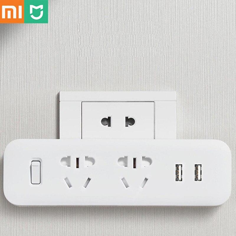 Xiaomi Mijia, convertidor de tira de energía, adaptador de enchufe portátil de viaje para el hogar, oficina, 5V, 2,1a, 2 tomas, 2 USB, carga rápida H20