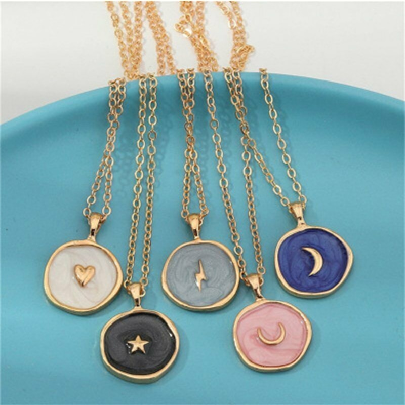 New Arrival Moon Star Lightning Pendant Necklace for Women Engagement Party Jewelry Chains Necklace Korean Fashion Choker Gifts handmade dreamy moon pendant necklace creative hand woven life tree gradient blue bumpy moon necklace for women birthday gifts