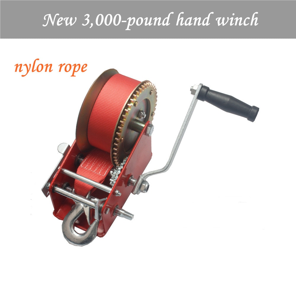 new 3000 pound hand winch manual winch spray moulded red coloured galvanized nylon rope winch New 3000 pound hand winch manual winch spray-moulded red coloured galvanized Nylon rope winch