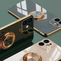 luxury ring case for iphone 12 11 pro max xs xr x s 7 8 plus se 2020 mini plating silicone tpu soft cover with ring holder stand