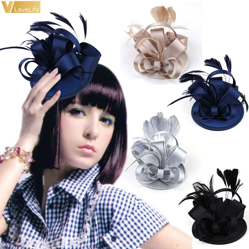 Gorra Clips para el pelo horquillas satén boda damas flor sombrero fiesta cóctel Rosa punto velo Formal sombreros elegantes suministros