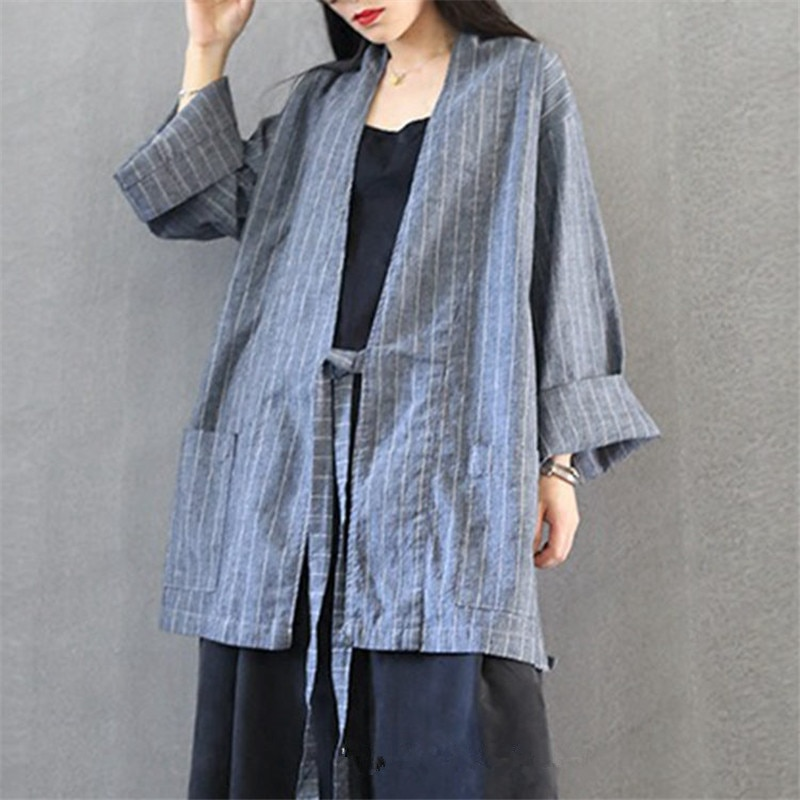 Veste sans col pour femmes, Art lin, veste Vintage à lacets à manches longues, en coton de chanvre, à rayures, haut ample