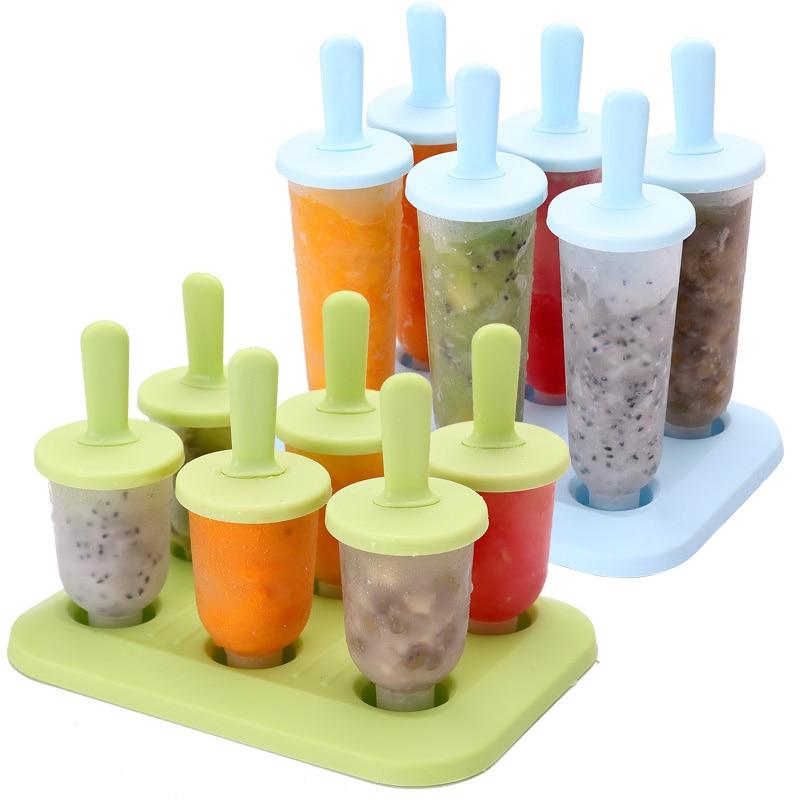 6 ячеек, круглая форма для мороженого, силиконовая форма для детей, пищевая форма для мороженого на палочке, форма для мороженного, кухонные ...