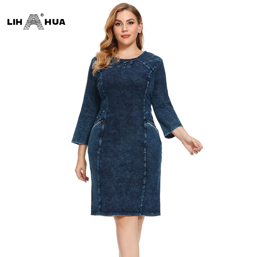 LIH HUA delle Donne Più Il Formato Autunno Casual Vestito Dal Denim di Cotone Lavorato A Maglia Denim di Alta Flessibilità Slim Fit Vestito Casual Moda vestito