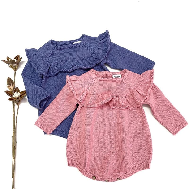 EnkeliBB Baby Long Sleeve Winter Romper Pink Ruffle Lovely Onesie Infant Winter Clothes Little Girl