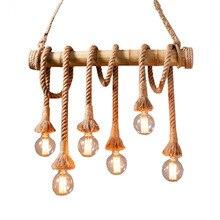 Vintage Rope bamboo Pendant Lights Personality Loft Lights Hemp Rope wood  lamp for Kitchen Cafe Bar Decor