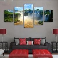 Toile decorative de paysage de cascade imprimee HD  5 pieces  tableau moderne sans cadre  Art mural  salon  chambre a coucher  decoration de maison