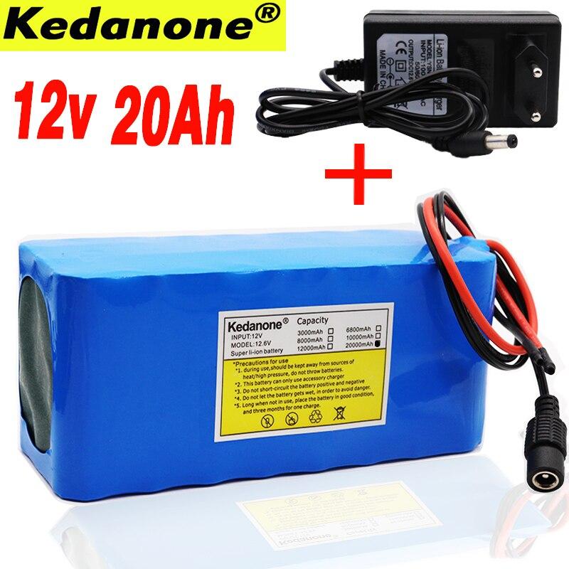 100% batería Original 18650 12V Gran capacidad 12V 20ah 18650 Placa de protección de batería de litio 12V 20000mAh capacidad + cargador