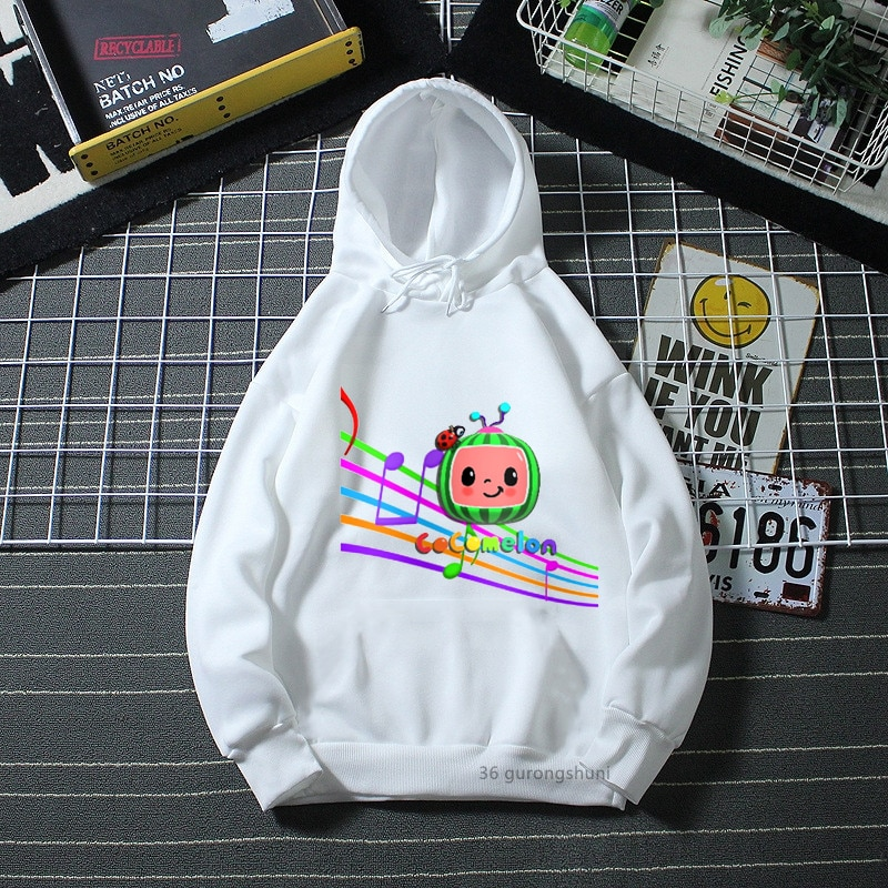Kawaii kids hoodie cartoon watermelon robot graphic print boy hoodie fashion winter long sleeve girl hoodie gift clothing tops fashionable long sleeve dinosaur print hoodie for boy