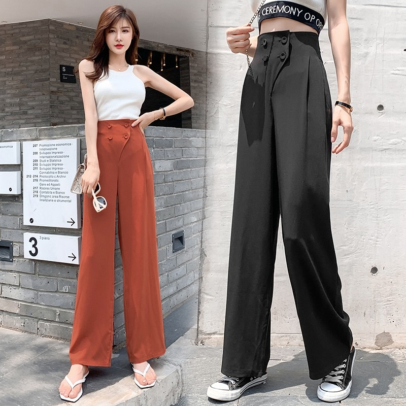 2021 New Summer Thin Korean Style Double Breasted Wide Leg Pants High Waist Drooping Draping Straigh