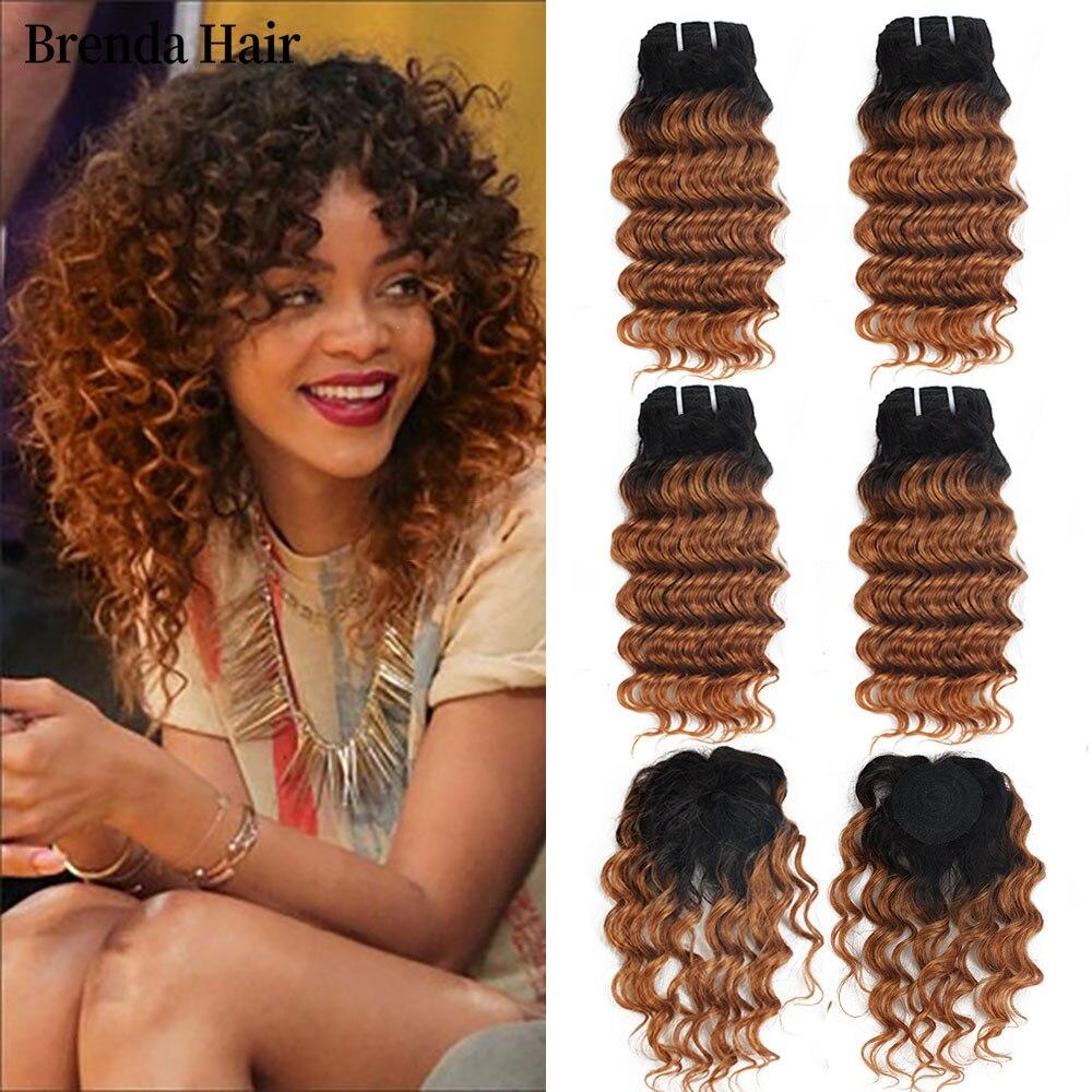 Brenda Hair T1B/30 Ombre 4 Bundles With Closure 210g/Lot Brazilian Deep Wave Hair Bundles With Machine Closure Remy Human Hair