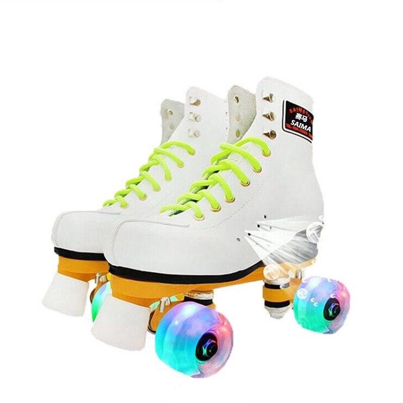Роликовые коньки, спортивные коньки, двойные коньки, женские, мужские, Взрослые Белые роликовые туфли с 4 ПУ флэш-колесами, патины