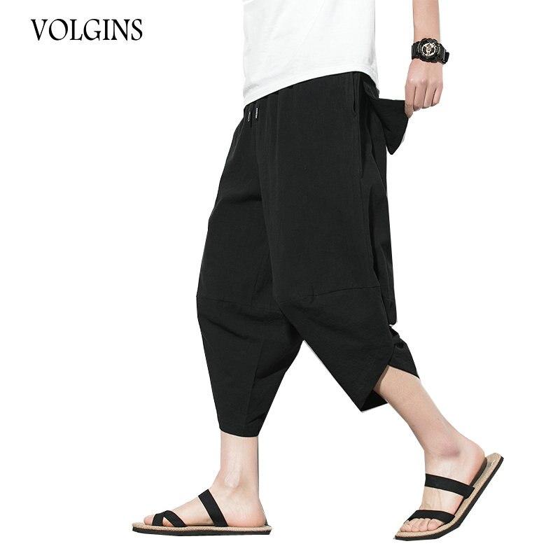 Streetwear Hombre Pantalones cruzados de algodón 2020 verano masculino Casual pantalones bombachos de pierna ancha pantalones de longitud de becerro hombres Dropshipping