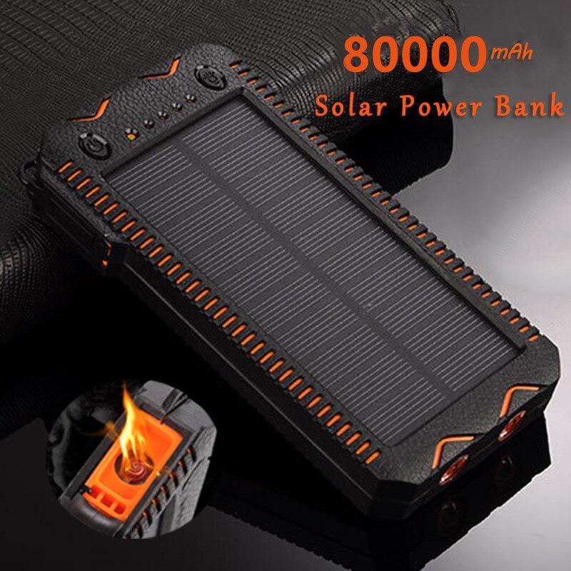 80000mAh Solar Power Bank High-Kapazität Telefon Lade Power Bank mit Zigarette Leichter Doppel USB Outdoor Notfall Ladegerät