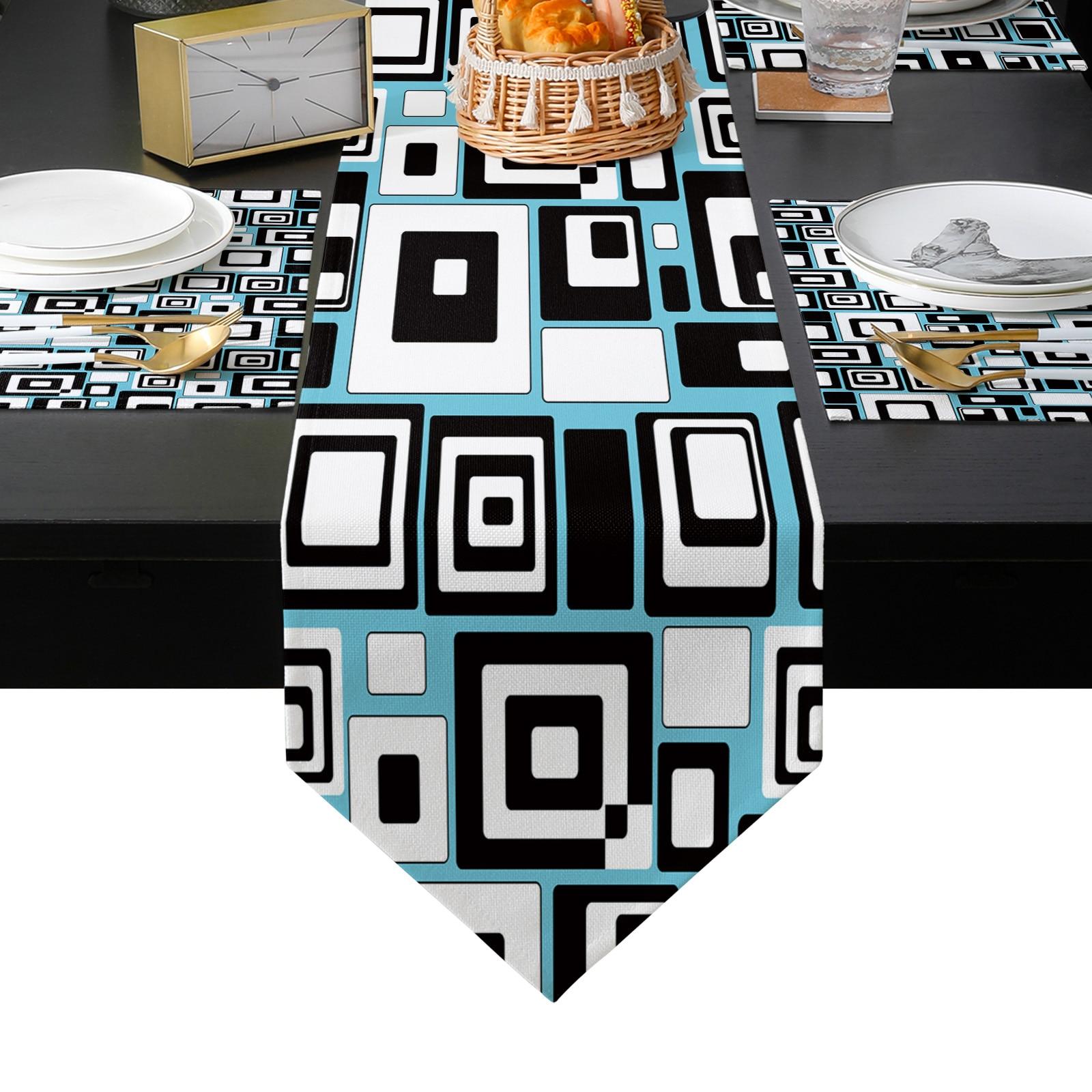 هندسية مستطيل الربط الجدول عداء المفارش مجموعة للمنزل المطبخ طاولة طعام حفل زفاف عطلة عشاء الديكور