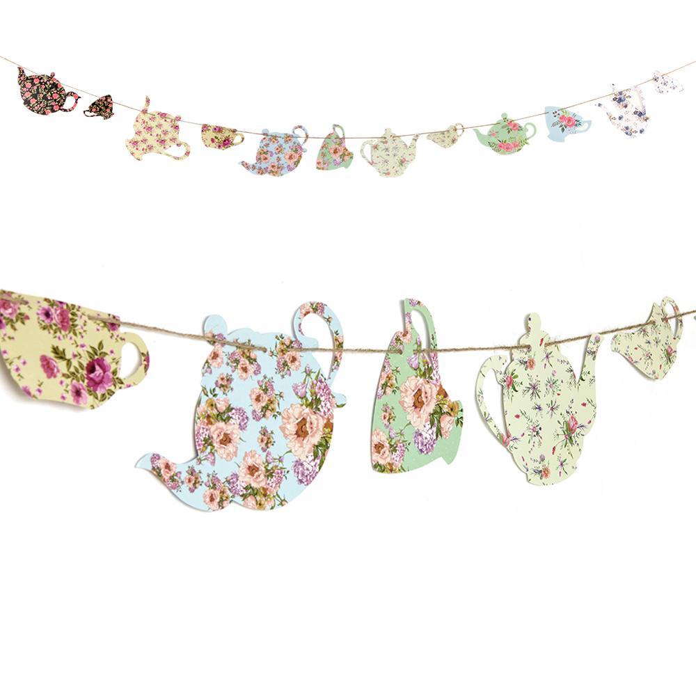 Impresión Floral tetera taza de té Banner manualidades de papel Día de Acción de Gracias día de la madre fiesta de té Decoración de cumpleaños jardín decoración del espacio