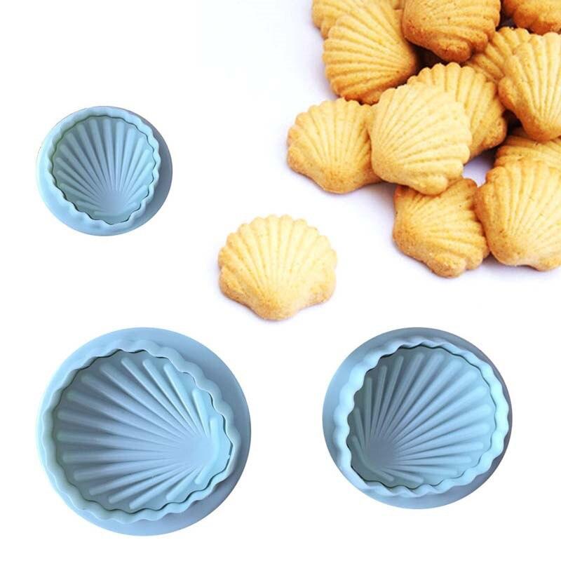 VOGVIGO 3 unids/set blanco grande famosa forma de concha de mar 3D Fondant pastel molde herramientas hornear manualidades molde galletas cortador pastel herramienta