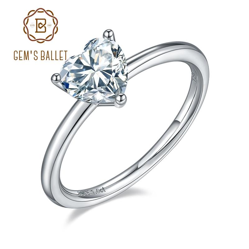 جيمز باليه-خاتم نسائي من الفضة الإسترليني عيار 6.5 ، خاتم خطوبة مويسانيتي ، 1.0 قيراط ، 925 مللي متر ، قلب ، مويسانيتي